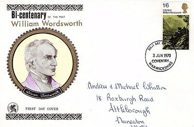 1970 William Wordsworth Bi-Centenary Wessex Fdc From Collection A9