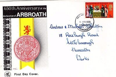 1970 DECLARATION OF ARBROATH 650th ANNIVERSRY WESSEX FDC FROM COLLECTION A11