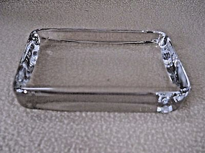 Vintage thick clear glass paperweight / add your own photo / desk accessory