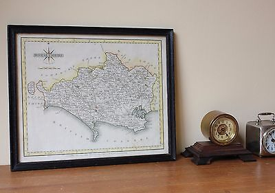 Antique Map of Dorsetshire John Cary c1787. Old Devon, Poole, Weymouth Sherborne