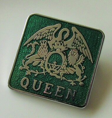 QUEEN BAND CREST OLD GREEN ENAMEL PIN BADGE FROM THE 1980's FREDDIE MERCURY