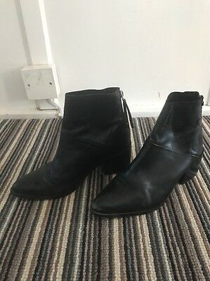 Topshop Uk 3 Leather Black Pointed Ankle Boots