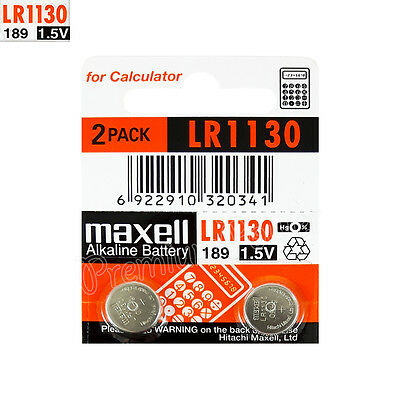 2 x Maxell Alkaline LR1130 batteries 1.5V LR54 189 389 SR1130SW AG10 Pack of 2