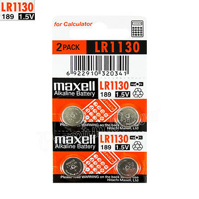 4 x Maxell Alkaline LR1130 batteries 1.5V LR54 189 389 SR1130SW AG10 Pack of 2