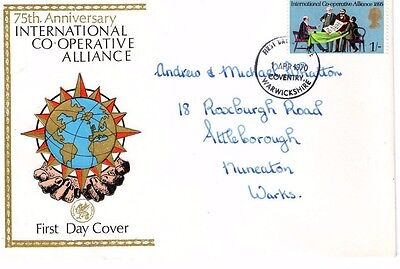 1970 INTERNATIONAL CO-OPERATIVE 75th ANNIVERSRY WESSEX FDC FROM COLLECTION A12