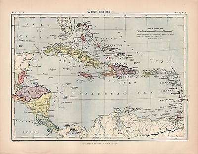 1880 ca ANTIQUE MAP-WEST INDIES