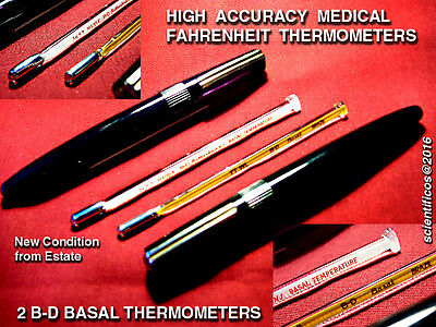 2 X B-D BASAL DOCTOR'S THERMOMETERS NOS for GYNECOLOGISTS or PEDIATRICIANS NEW