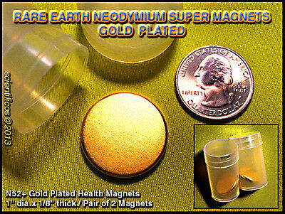 """Extremely Powerful N52+ GOLD FILLED 1"""" x 1/8th"""" Magnets x 2 pcs / HYPOALLERGENIC"""