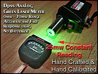 Green Laser Power Meter Reads 1mw to 70mw+ with case / custom hand calibrated