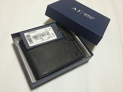 Mens Giorgio Armani Jeans Bi Fold Coin Black Calfskin Leather Note Wallet