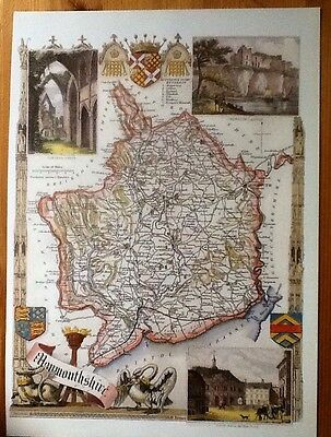 Decorative County Map Of Monmouthshire Book Plate, By Thomas Moule 1830 Chepstow