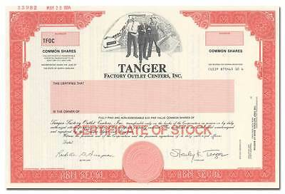 Tanger Factory Outlet Centers, Inc. Specimen Stock Certificate