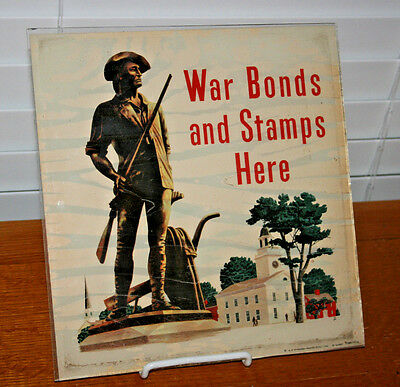 United States War Bonds and Stamps Here Sign for Storefront-Sealed Under Glass
