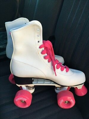 Brookfield Roller Derby Women's Roller Skates Sz  7 White Pink Laces