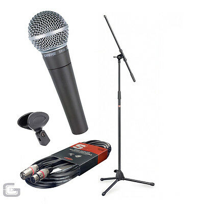 Shure SM58 Wired Hand Held Microphone With Stagg Stand XLR Cable & Clip Pack