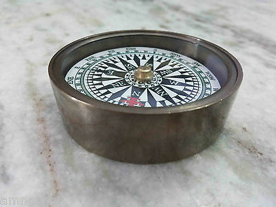 Antique Brass Floating Dial Compass Vintage Marine Collectible Gift