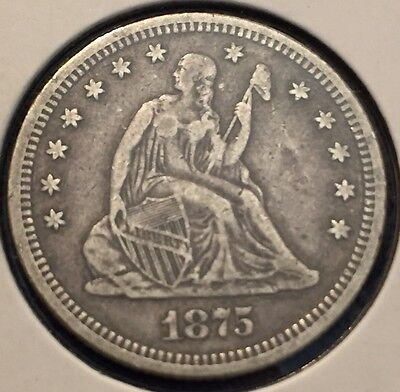 1875 Seated Liberty Quarter In About Extra Fine Condition #307