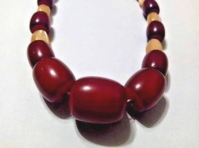 Beautiful Old Faturan Bakelite necklace with mother of pearl 99 gr.