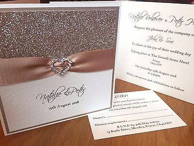 *All That Sparkles* buckle pocket fold wedding day evening invitation SAMPLE