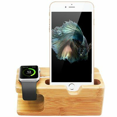 For iPhone Apple Watch Charging Stand iWatch Bamboo Dock Station Charger Holder