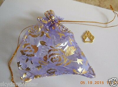Help Feed Feral Cats Rescue Rec Pet Dog Paw Charm In Drawstring Lavender Bag