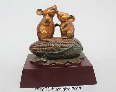 "7""Chinese Art sculpture Scarce Royal Bronze Two Mouse eat  Corn Statue"