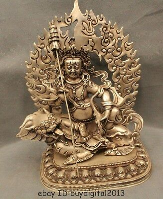 "12""Old China Tibet Tibetan Buddhism Silver Mouse Vaishravana Wealth God Statue"