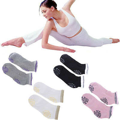 4 Pairs Of Best Non Slip Skid Yoga Pilates Socks with Grips Cotton for Women New