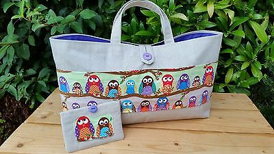 REDUCED! Knitting Bag,Owls Pocket, Purple Lining,3 Inner Pockets FREE sewing kit