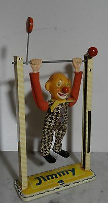 "Antikes Blechspielzeug Arnold Clown "" Jimmi "" am Rack - made in W.-Germany ~50er"