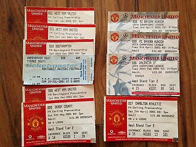 Manchester United Tickets, 46 from 1992-2011, Inc Testimonials, Champions League