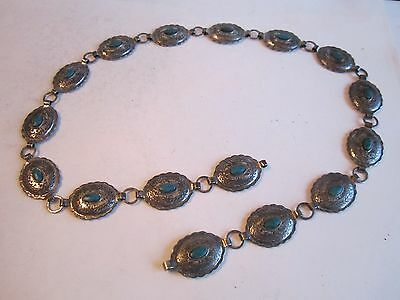 """Silver Plated & Turquoise Belt - 34"""" Long - Heavy - See Pics - Tub Bn-12"""
