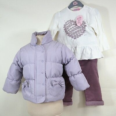 Chloe Louise Lilac Coat White Top & Dusky Pink Trouser Set Age 12-18 Months
