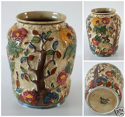 Stunning glazed vase by H,J.Wood Indian Tree Pattern Handpainted LARGE VASE