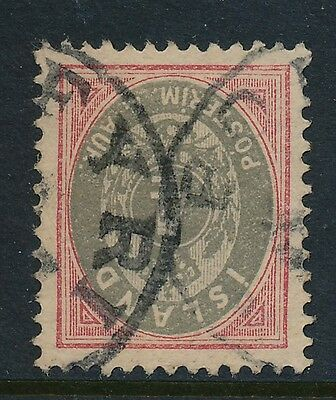 """Iceland. 4 our grey/rose with crown cancel """"BORDEYRI"""" - INV. WATERMARK"""