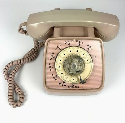 Vintage Blush Pink Automatic Electric Rotary Desk Phone GTE General Telephone