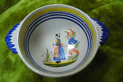QUIMPER Bowl Henriot faience Vintage  bowl wall plaque Woman with flowers