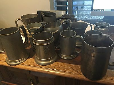 Variety of Pewter mugs and jugs. All different ages. Sold as job lot