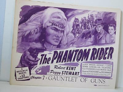 Set of 8 1945 THE PHANTOM RIDER Ch 7 Lobby Cards 2 are Signed by PEGGY STEWART