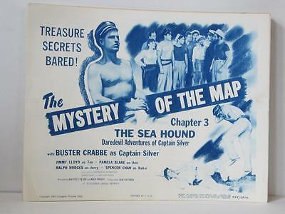 Lot of 4 THE SEA HOUND 1955 rerelease LOBBY CARDS w/ 3 TITLE CARDS Buster Crabbe