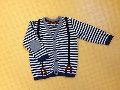 H & M Baby Boys Blue And White Striped Cardigan 9- 12 Months