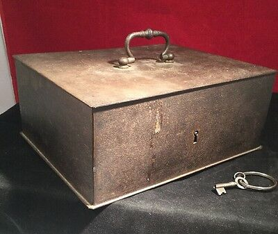 Antique Very High Quality Solid Victorian Strongbox With Original Key