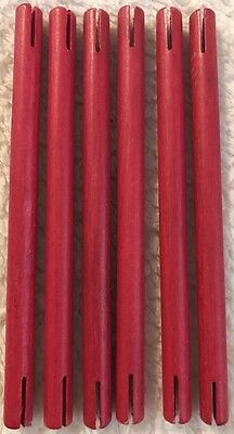 """Wooden Tinker Toys Parts Lot: 6 RED RODS ~5.5"""" Replacement Tinkertoy Pieces"""
