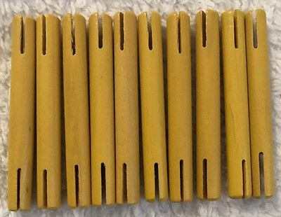"""Wooden Tinker Toys Parts Lot: 10 YELLOW RODS ~3"""" Replacement Tinkertoy Pieces"""