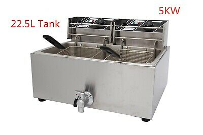 5KW Electric Commercial Deep Fryer  Big Single Tank  with 2 Baskets 22.5L