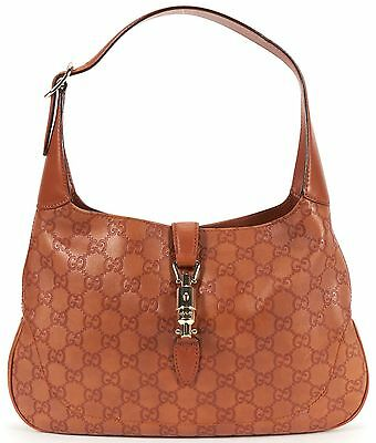 GUCCI Authentic Brown GG Guccissima Monogram Emboss Leather Jackie Shoulder Bag