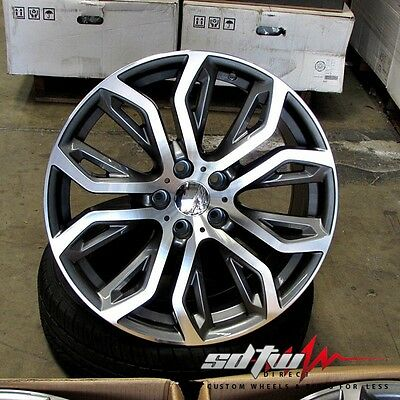 "22"" Staggered Wheels fits BMW X5 X6 X5M X6M Machined Face/Gunmetal 375 Style"