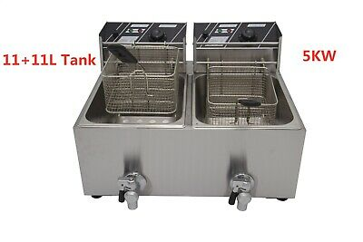 5KW Commercial Deep Fryer Basket Electric Twin Double Tank Fat Chip 22.5L