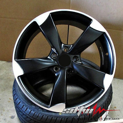 "18"" Wheels 5 Arm Rotor Style in Satin Black Rims Fits Audi  A4 A5 A6 S4 S5 S6 TT"