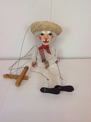 Vintage Pull String Marionette Puppet Mexican Old Man Folk Art 14 Inches